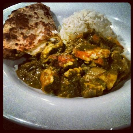 Saag paneer with rice and naan bread