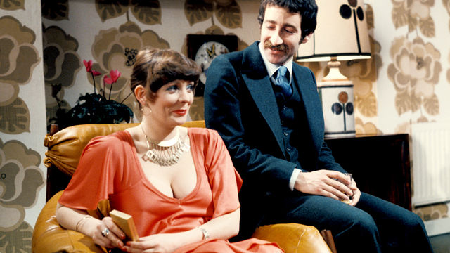 Alison Steadman and some mustachioed bloke in a still from 1977 TV production of Abigail's Party