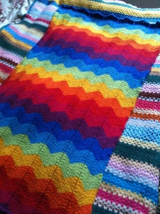 Rainbow Jackson blanket - designed by Tash of Holland Road Yarn Company fame